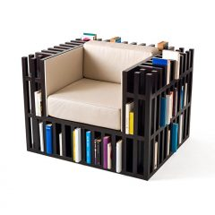 Bibliochaise by Nobody&Co, wooden armchair with leather cushions for book lovers - AFFLUENCY, Unique by Design - Asia's premier e-tailer to discover and shop online for Luxury furniture, unique home decor and design masterpieces
